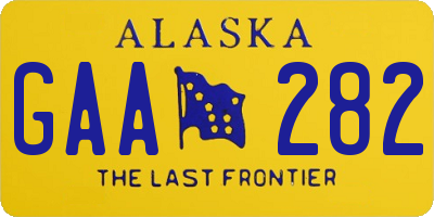 AK license plate GAA282