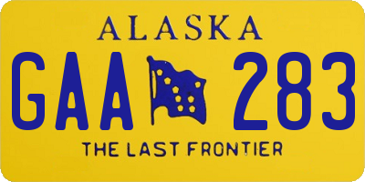 AK license plate GAA283