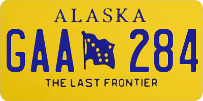 AK license plate GAA284