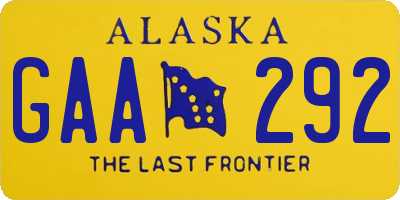 AK license plate GAA292