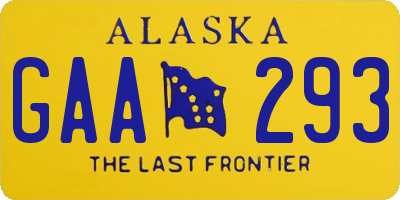 AK license plate GAA293