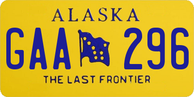 AK license plate GAA296