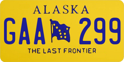 AK license plate GAA299