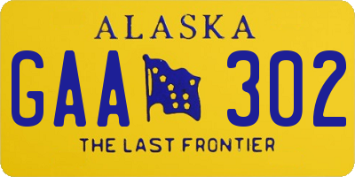 AK license plate GAA302