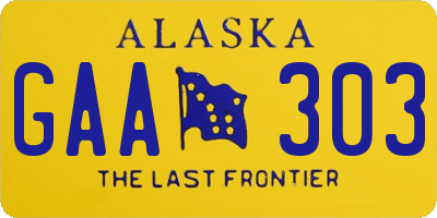 AK license plate GAA303