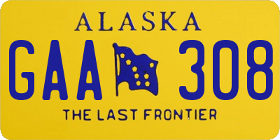 AK license plate GAA308