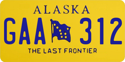 AK license plate GAA312
