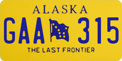 AK license plate GAA315