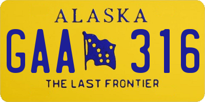 AK license plate GAA316