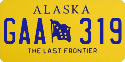AK license plate GAA319