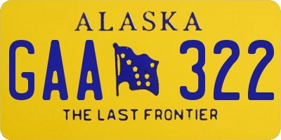 AK license plate GAA322