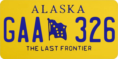 AK license plate GAA326