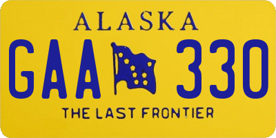 AK license plate GAA330