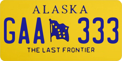 AK license plate GAA333