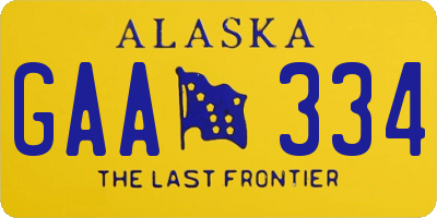 AK license plate GAA334