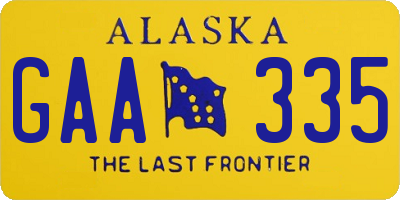 AK license plate GAA335