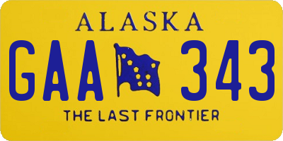 AK license plate GAA343