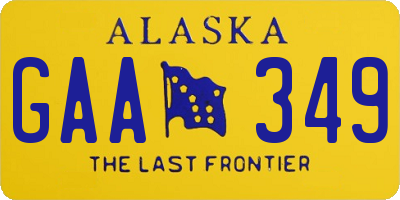 AK license plate GAA349