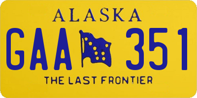 AK license plate GAA351