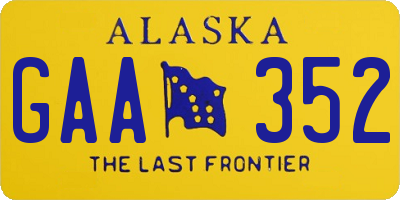 AK license plate GAA352