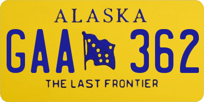 AK license plate GAA362