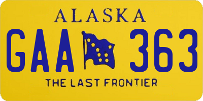 AK license plate GAA363