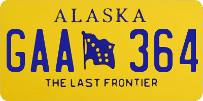 AK license plate GAA364