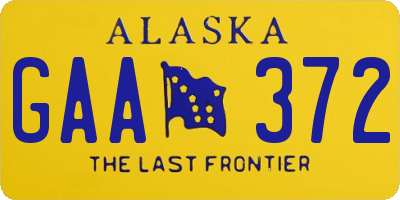 AK license plate GAA372