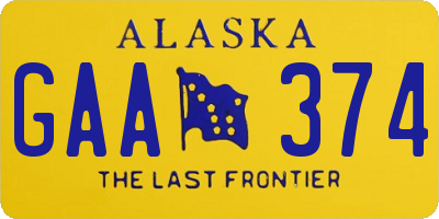 AK license plate GAA374