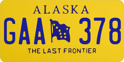 AK license plate GAA378