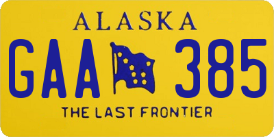 AK license plate GAA385