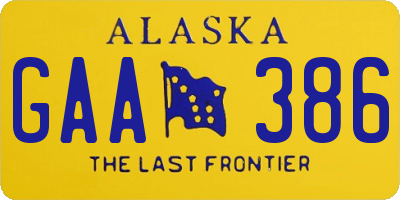 AK license plate GAA386