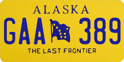 AK license plate GAA389