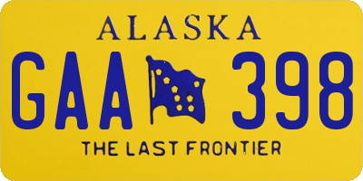 AK license plate GAA398