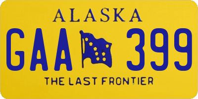 AK license plate GAA399