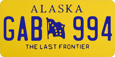 AK license plate GAB994