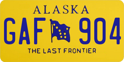 AK license plate GAF904