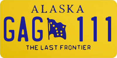 AK license plate GAG111