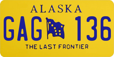 AK license plate GAG136