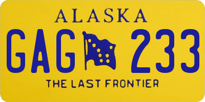 AK license plate GAG233