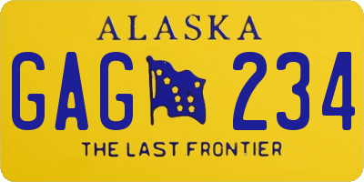 AK license plate GAG234