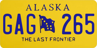 AK license plate GAG265