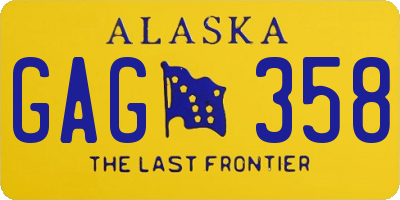 AK license plate GAG358