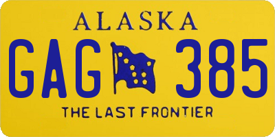 AK license plate GAG385