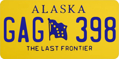 AK license plate GAG398