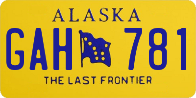 AK license plate GAH781