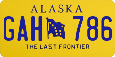 AK license plate GAH786