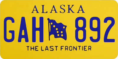 AK license plate GAH892