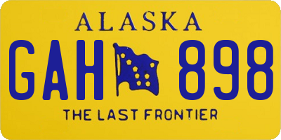 AK license plate GAH898