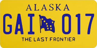 AK license plate GAI017